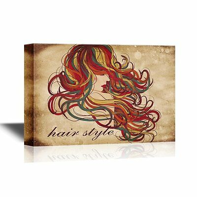 wall26 - Hair Style Canvas Wall Art - Woman with Long Curly Hair - 12x18 inches