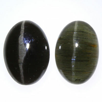 1.840 Ct VERY RARE FINE QUALITY 100% NATURAL SILLIMANITE CAT'S EYE INTENSE PAIR!