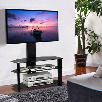 "3 Tiers Tempered Glass Floor TV Stand Mount Swivel Shelf 30-60"" Adjustable Black"