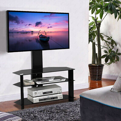 "3 Tiers Tempered Glass TV Stand w/ 30-60"" Bracket Mount Swivel Adjustable Black"