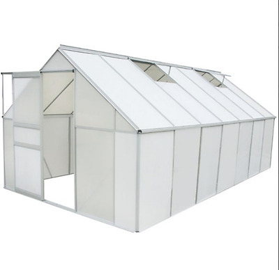 Greenhouse 14' x 8' Polycarbonate Aluminium Pollytunnel Gardening Green House