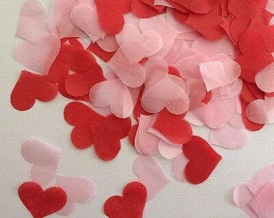 Red & Pink Heart Shape Tissue Confetti. 500 pieces