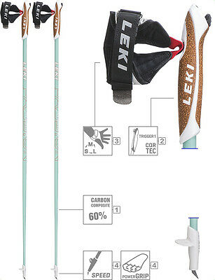 LEKI Nordic Walking Stöcke Carbon »Passion« Trigger 1 Speed Tip + Power Grip Pad