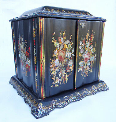 Excellent, English Victorian Papier Mache Sewing / Writing Box Ca. 1850