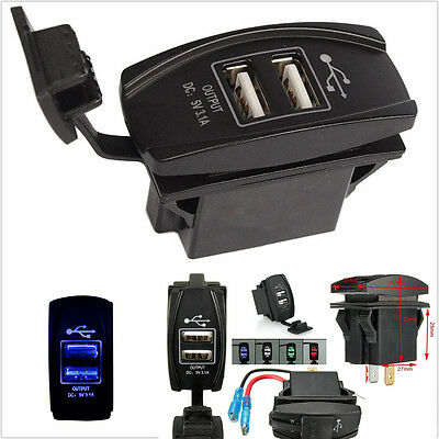 2 Port USB Charger Panel Mount 3.1A Output Carling,Narva ARB Rocker Switch