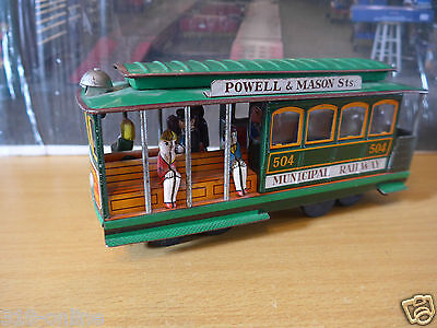 Vintage Tin plate tram model made in japan including passengers and driver