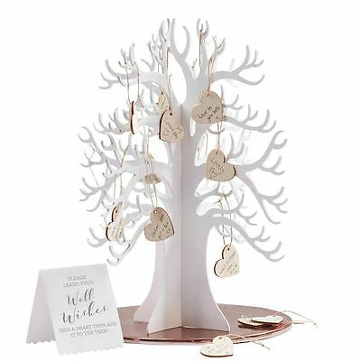 Wooden Wishing Tree with Hearts Alternative Wedding Guest Book Ginger Ray
