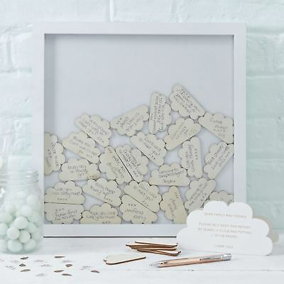 Baby Shower Cloud Drop Top Wooden Frame Alternative Guest Book Ginger Ray