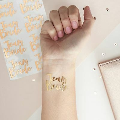Team Bride Tattoo Rose Gold Hen Night Party Accessories Tattoos x 16