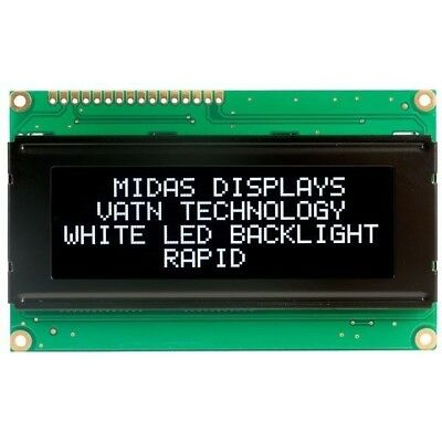 Midas Displays MC42005A12-VNMLW 20x4 VATN LCD Display Negative Mode White