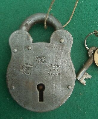 VINTAGE STRONG PATENTED 'BELFRY' PADLOCK WITH KEY date unknown