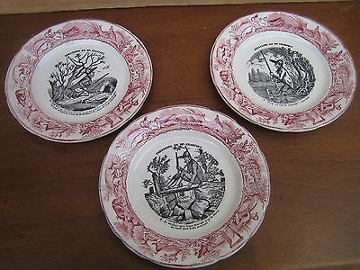 "3 assiettes devinette ""Question de M Crakfort"" Choisy le Roi XIX°"
