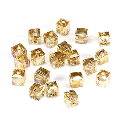 20pcs Gsha ab 6mm Faceted Square Cube Cut glass crystal Spacer beads