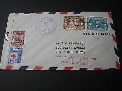 Honduras 1942 cover nice franking stamped Held by Censor