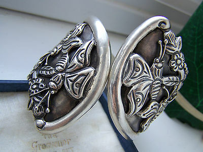 """Vintage Sterling Silver Mexico Taxco Edp Butterfly Clamper Bangle Bracelet 8"""""""