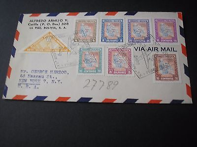 Bolivia 1945 airmail cover nice franking