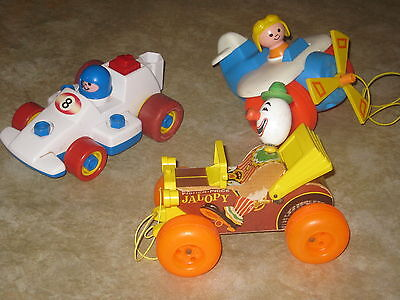 3 PC Lot Vintage Fischer Price Pull Toys * Jalopy * Airplane * Pull Back Racer*
