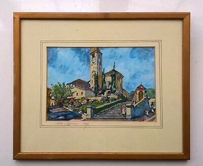 Signed Original Mixed Media Painting Lake Maggiore Italy Italian Landscape 2