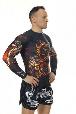 Dragon Lagon Warrior Long Sleeve Rashguard MMA BJJ GYM Mens Top