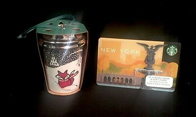 Starbucks Fox Ornament Holiday 2016 Plus NYC Gift Card NEW