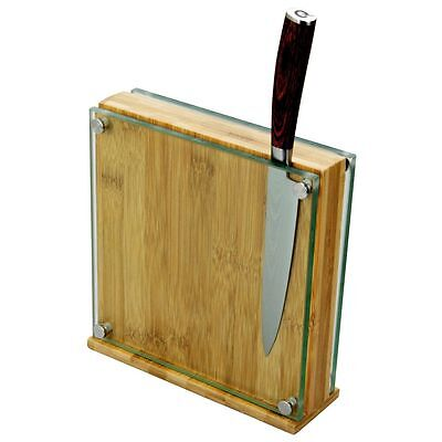 Bamboo & Glass Magnetic Knife Block