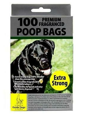 100 Poop Bags Fragranced Extra Strong Tie Handles Pet Waste Disposal