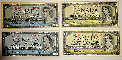 Four 1954 - Canadian Banknotes - $5 & $20 Devil's Face & Modified , Very Rare