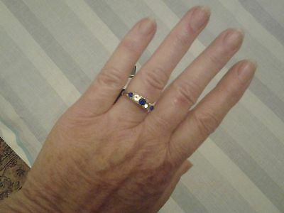 Beautiful Blue and White Sapphire 9 Carat Gold Ring. Size O