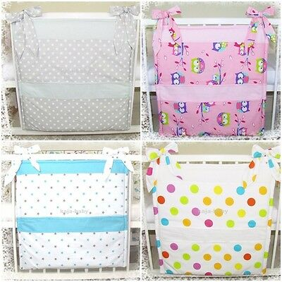 new COT BED TIDY ORGANISER 5 POCKETS PATTERNED STARS OWLS DOTS