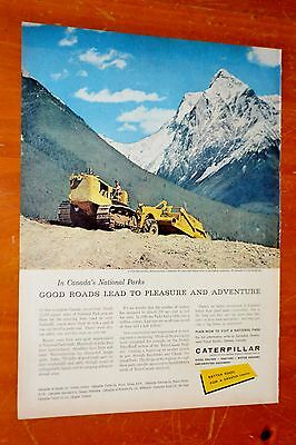 Canadian 1957 Caterpillar D9 & Scraper In Bc National Park Ad - Vintage 50S