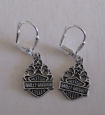 "Harley Davidson Bar & Shield Flame Sterling Earrings New - ""Great ❤️ Gift"""
