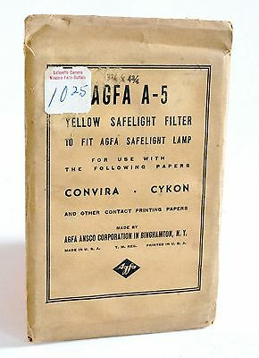 Rare Vintage Agfa A-5 Yellow Safelight Filter in Original Packaging
