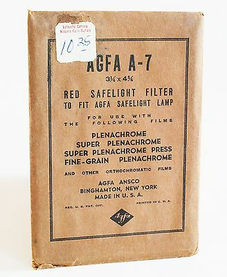 Rare Vintage Agfa A-7 Red Safelight Filter in Original Packaging