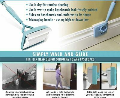 Baseboard Buddy Simply Glide And Dust Extendable Microfiber Cleaner Wash new