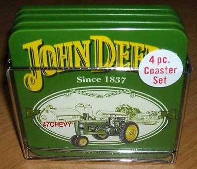 New-John Deere Coasters-1 Package Of 4 W/metal Carrier