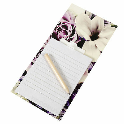 Magnetic Lilac Floral To Do List Shopping Pad Kitchen Fridge Magnet Memo Notepad