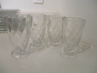 4 Canadian Depression Glass CANADIAN SWIRL Juice Glasses Dominion Glass