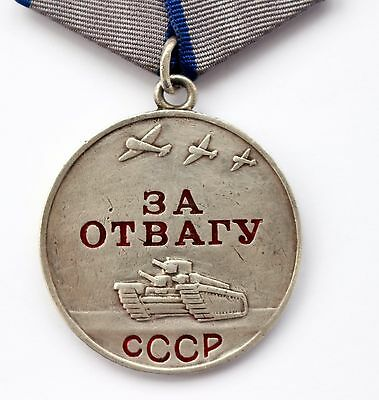 Original Soviet Russian USSR SILVER Medal For Courage Bravery Valor SN 2.895.833