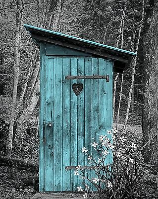 Teal Gray Home Decor B&W Wall Art Vintage Outhouse Country Privy Photo Print Mat