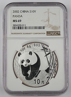 China 2002 1 Oz 999 Silver Panda 10 Yuan Coin NGC MS69 GEM BU+