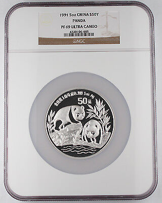 China 1991 5 Oz 999 Silver Panda Proof Coin NGC PF69 Ultra Cameo Better Date