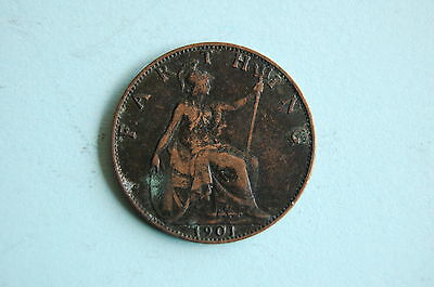 1901 One Farthing (1/4) Queen Victoria copper coin