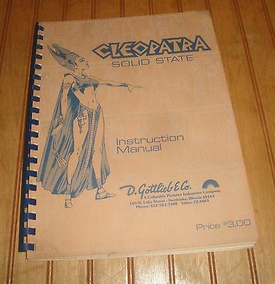 Gottlieb CLEOPATRA 1977 Original Pinball Machine Service Manual w/ Schematics