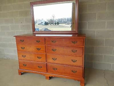 SUTERS REPRODUCTIONS Chippendale Style Solid Cherry Double Dresser & Mirror