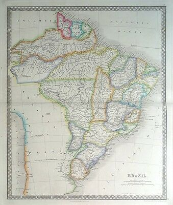 BRAZIL, SOUTH AMERICA, Teesdale original hand coloured antique map 1848