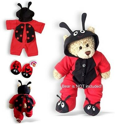 Teddy Bear Clothes fit Build a Bear Red Bug Onesie & Slippers See Outfits Back!