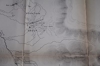 1878 Map Lower Geyser Basin Yellowstone Park, Hayden, Published 1883 Report