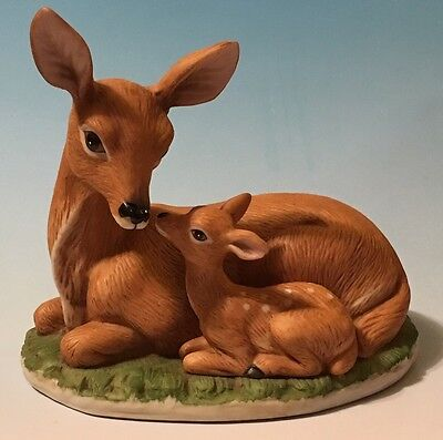 Homco Resting Doe and Fawn  Porcelain Figurines # 1441 Shelf Sitter