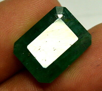 12.1 Ct Natural Green Emerald Zambia Originated Octagon Gemstone For Ring Size