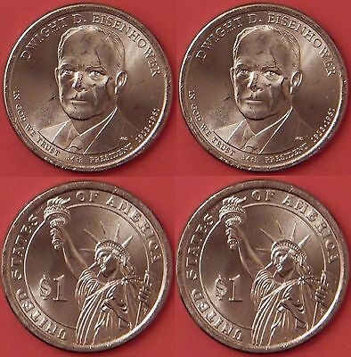 Brilliant Uncirculated 2015 P & D US Dwight Eisenhower 1 Dollars